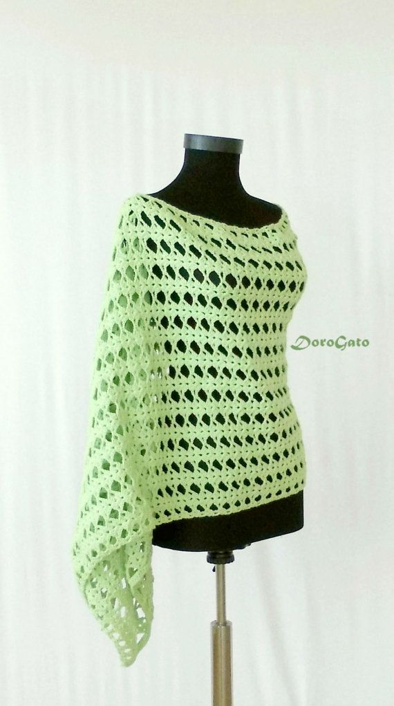 Crochet Shawl Fashion Wrap Shawl Green Lace Shawl Lace Stole