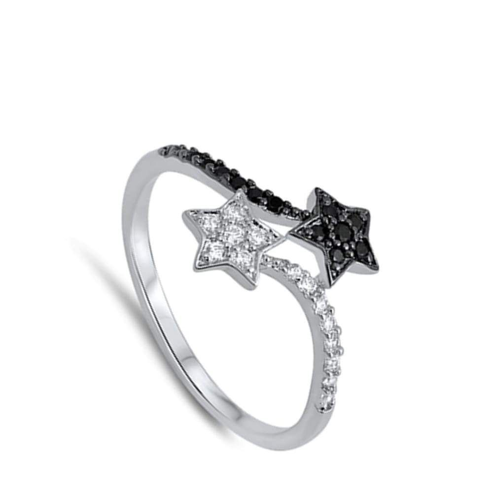 Black and White Sterling Silver Double Star Cubic Zirconia