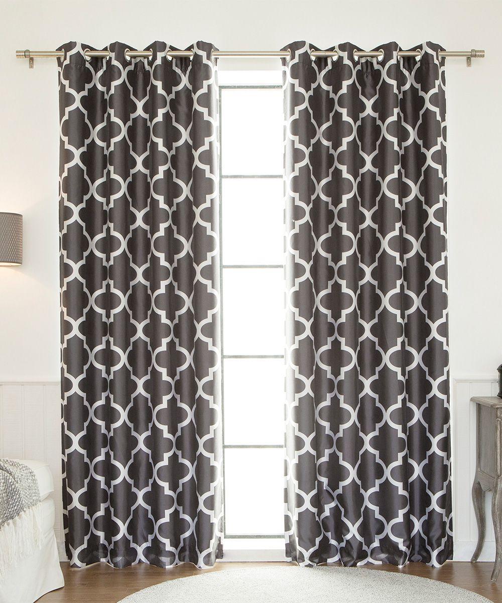 Dark gray moroccan tile blackout curtain panel moroccan tiles
