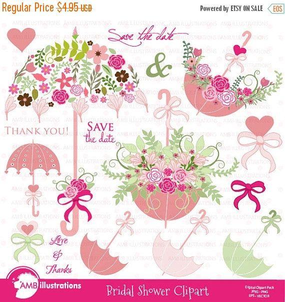 80off bridal shower clipart wedding clipart floral clipart umbrella clipart commercial use digital clip art amb 871