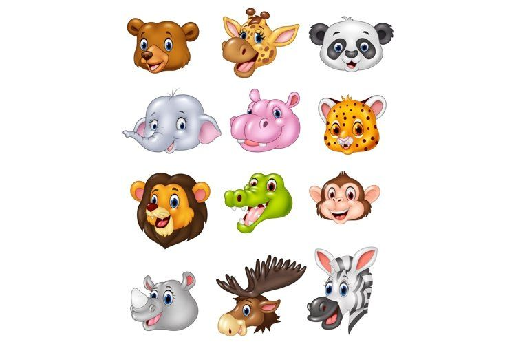 Cartoon Wild Animal Head Vector Set 742235 Characters Design Bundles In 2021 Animals Wild Animal Heads Character Design