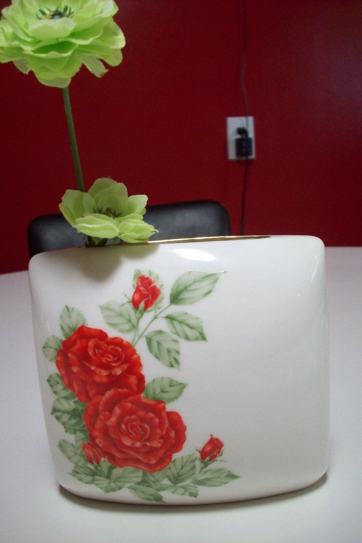 Red Rose vase Andrea by Sadek made in Japan with gold trim/ Vintage red and green porcelain vase/ table centerpiece/ tvat v2 svfteam ppt by UpcycledCottageDecor on Etsy