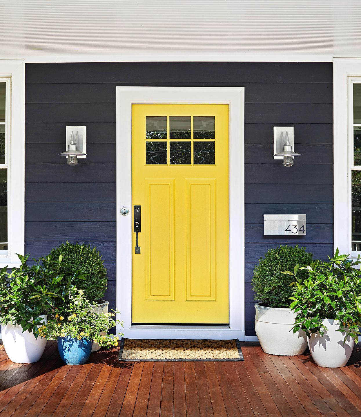 12 Stylish Ideas To Make The Most Of A Small Front Porch In 2020 House Exterior House Paint Exterior Painted Exterior Doors