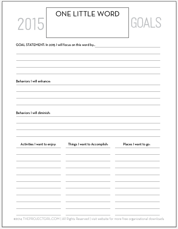 2015 One Little Word Goal Worksheet - theprojectgirl.com - tons of ...