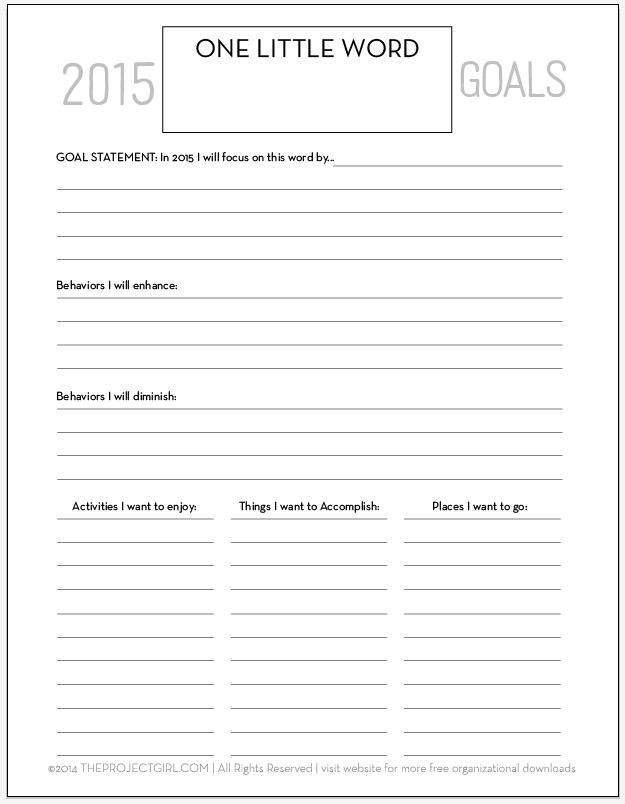2015 One Little Word Goal Worksheet theprojectgirl tons of – Goal Worksheet