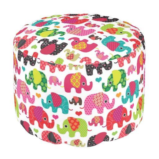 Exceptionnel Retro Elephant Kids Pattern Wallpaper Round Pouf #ottoman #round #pouf  #home #furnitures #decorations #zazzle #seats #elephants #animals #prints  #patterns