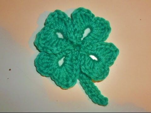 Vierblättriges Kleeblatt Häkeln Glücksbringer Crochet Cloverleaf