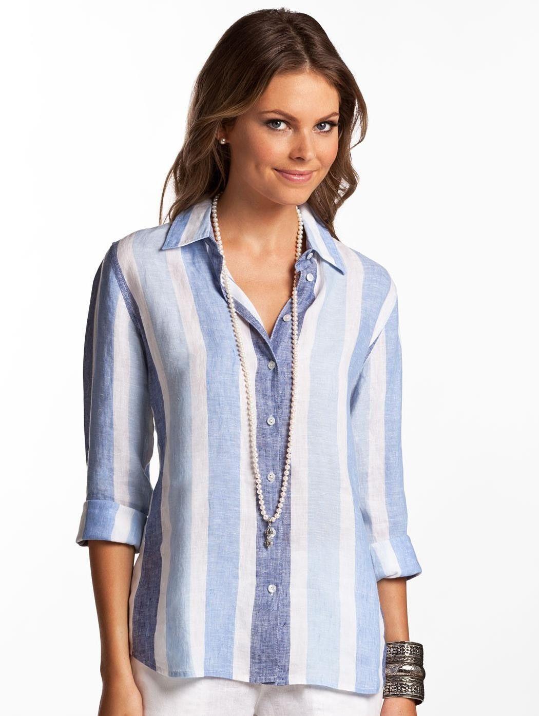 buckley classic blue striped linen shirt for women