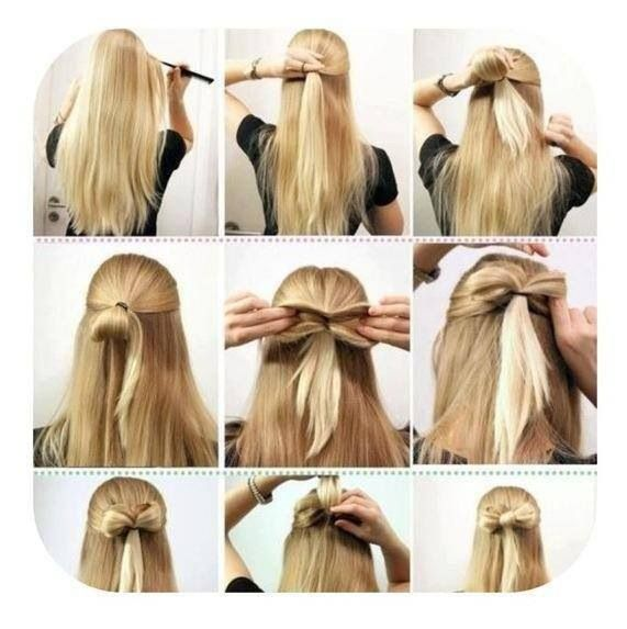 Half Up Half Down Hair With Bow Made Out Of Hair Easy Hair Styles Bow Hairstyle Long Hair Styles