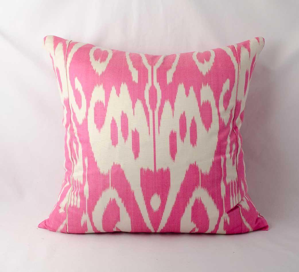 19x19 pink ikat cushion cover, pillow cover, ikats, pink pillows ...