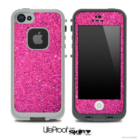 Pink Glitter Ultra Metallic Skin for the iPhone 4/4s or 5 LifeProof Case on Etsy, $9.99