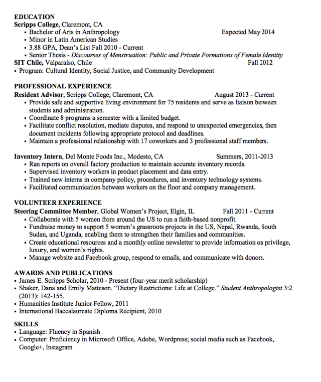 Sample Inventory Intern Resume  HttpExampleresumecvOrgSample
