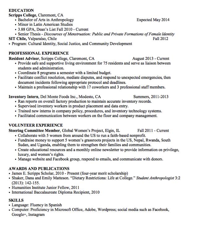 Sample Inventory Intern Resume Examples Resume Cv