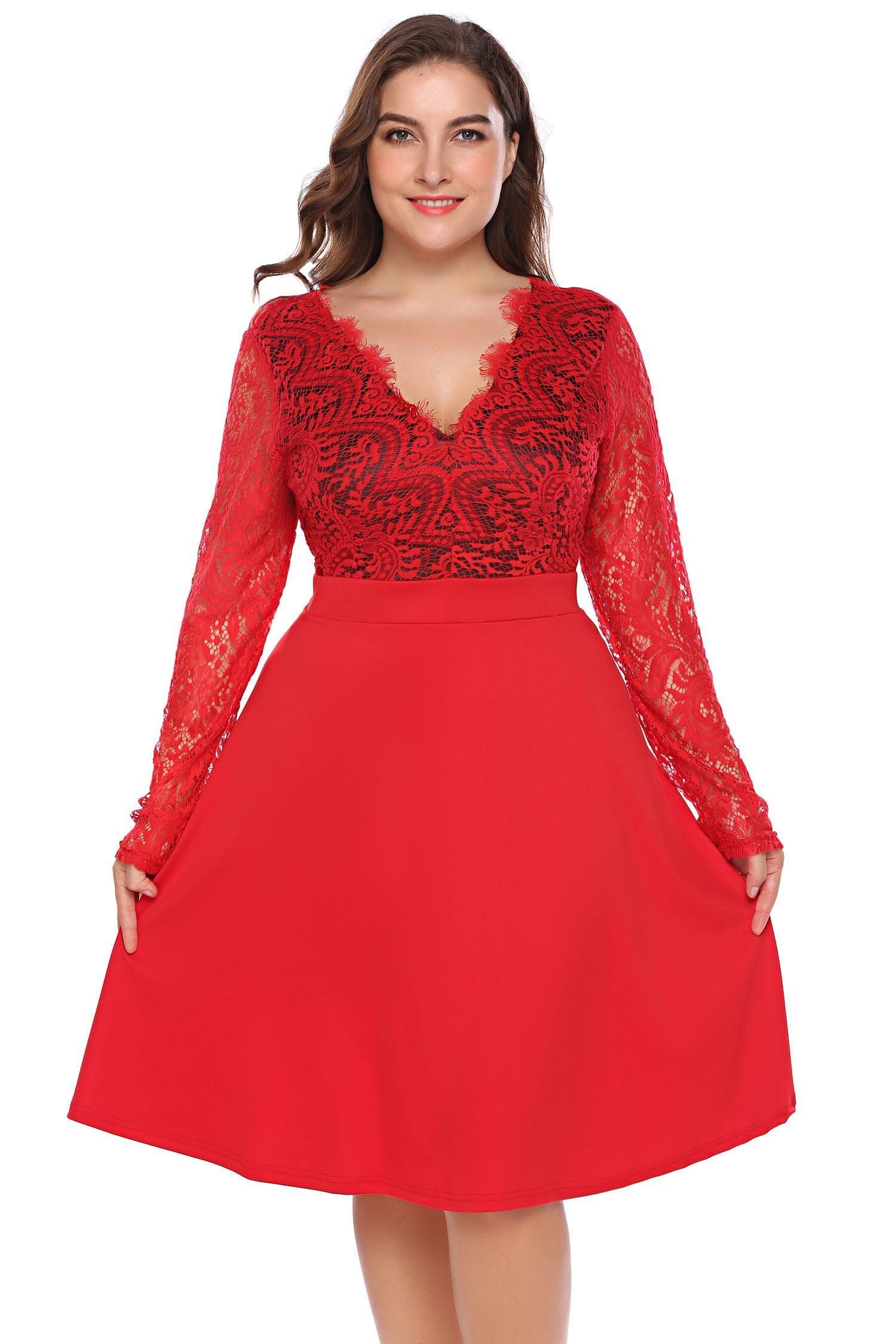 Involand women plus size sexy deep v neck hollow floral lace long