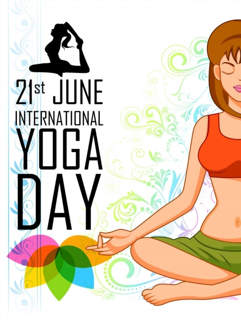 Illustration Of Woman Doing Yoga For International Yoga Day Poster International Yoga Day Yoga Day Yoga Day Quotes