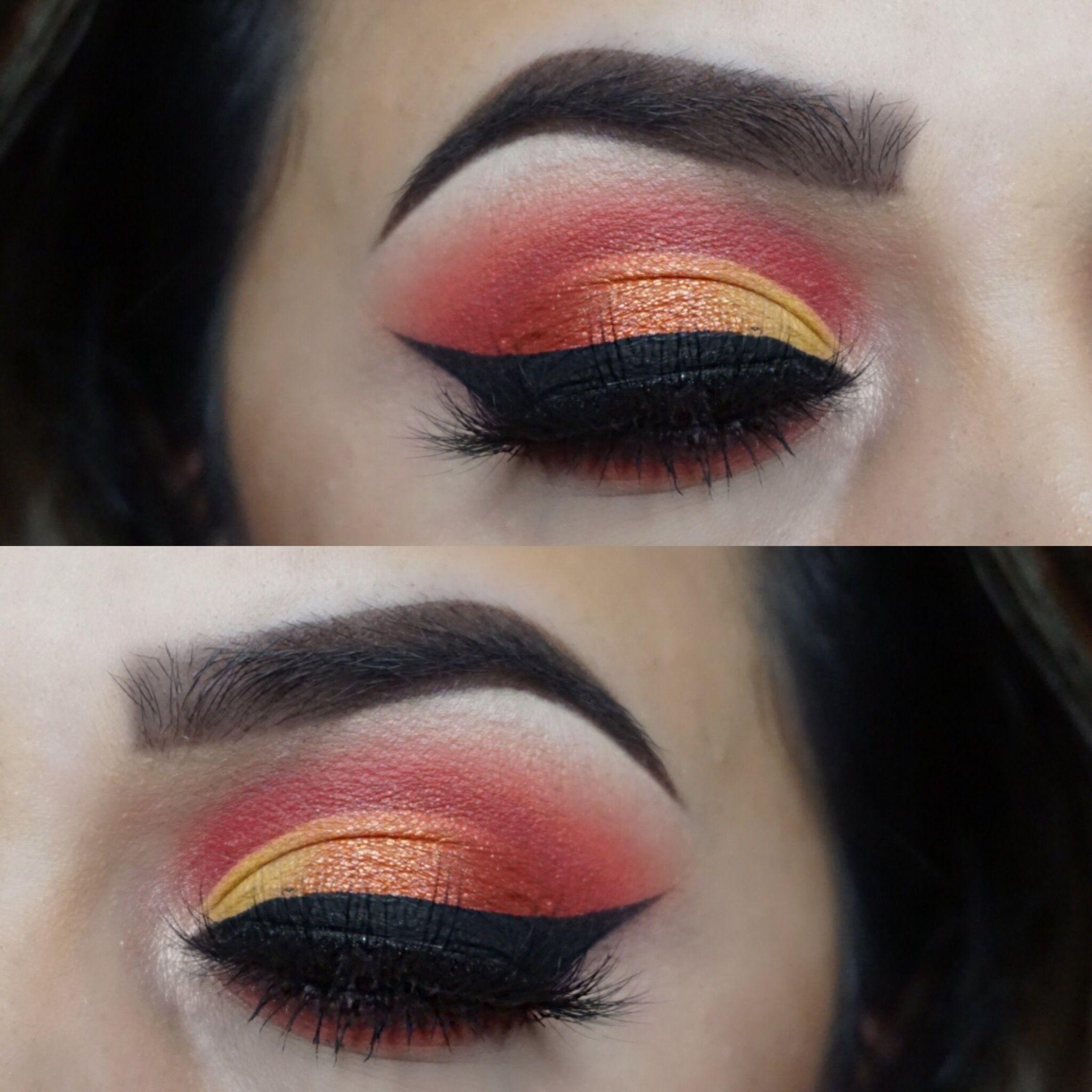 Hot Cheeto eyeshadow look! Flaming hot. Used the Morphe
