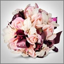 Pink Rose & White Orchid Wedding Bouquet