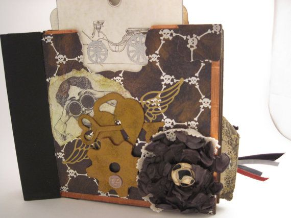 Steampunk Scrapbook Album from upcycled junk mail envelopes