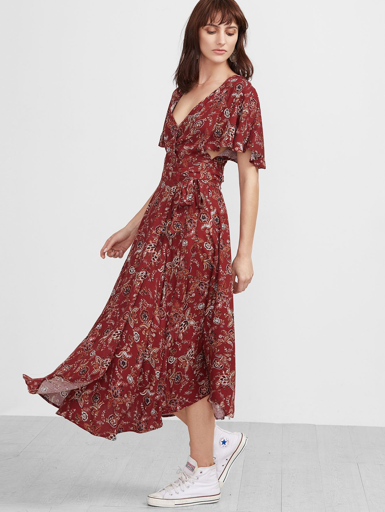 8e12f44e31de Shop Red Florals V Neck Vintage Maxi Dress online. SheIn offers Red Florals V  Neck Vintage Maxi Dress   more to fit your fashionable needs.