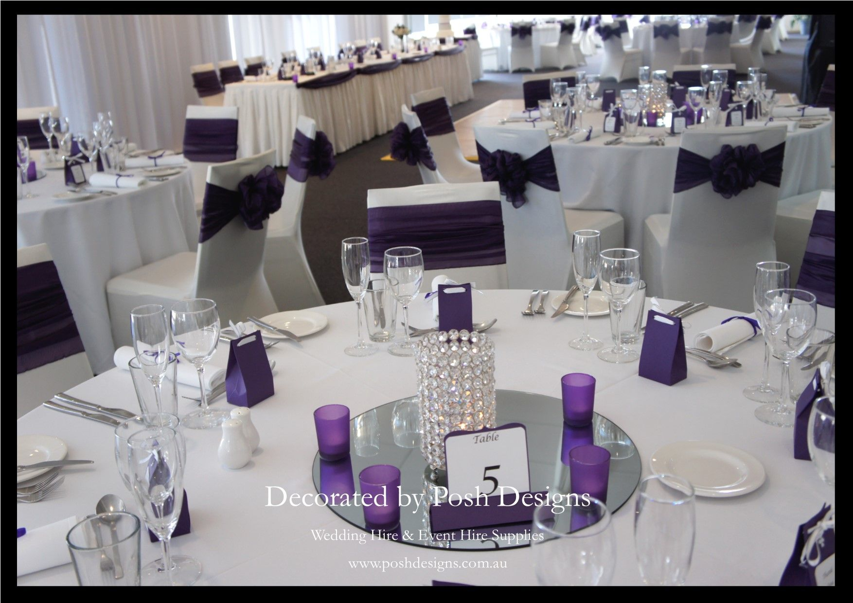 Purple and white themed wedding decorations for hire | Wedding ...