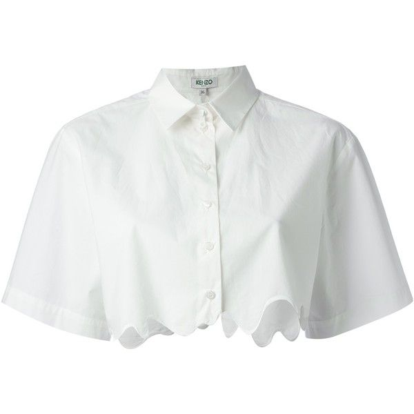Kenzo cropped shirt (€175) ❤ liked on Polyvore featuring tops, shirts, crop top, blouses, white, short sleeve shirts, cotton shirts, white cotton shirt, collared crop top and short sleeve collared shirts