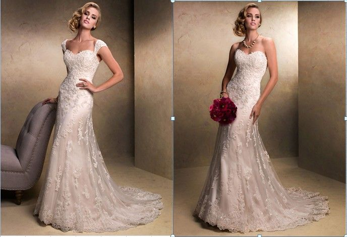 Lace Wedding Dresses With Cap Sleeves Cap Sleeve Mermaid Lace