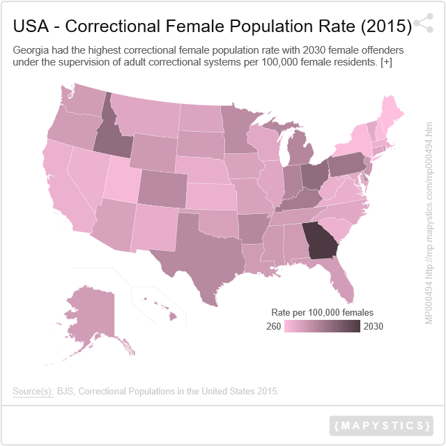 USA - Correctional Female Potion Rate (2015)   Mapystics ... Cancer Map Usa on cancer strength, cancer side effects, cancer celebrities, cancer clusters in the united states, cancer incidence world map, cancer belt map, cancer map of us, cancer support community, cancer death quotes, cancer death poems, cancer map louisiana, cancer in ear, nuclear targets in the usa, cancer prevalence united states, cancer concept map, cancer phrases, cancer boils, cancer wings, cancer foods, cancer under skin,