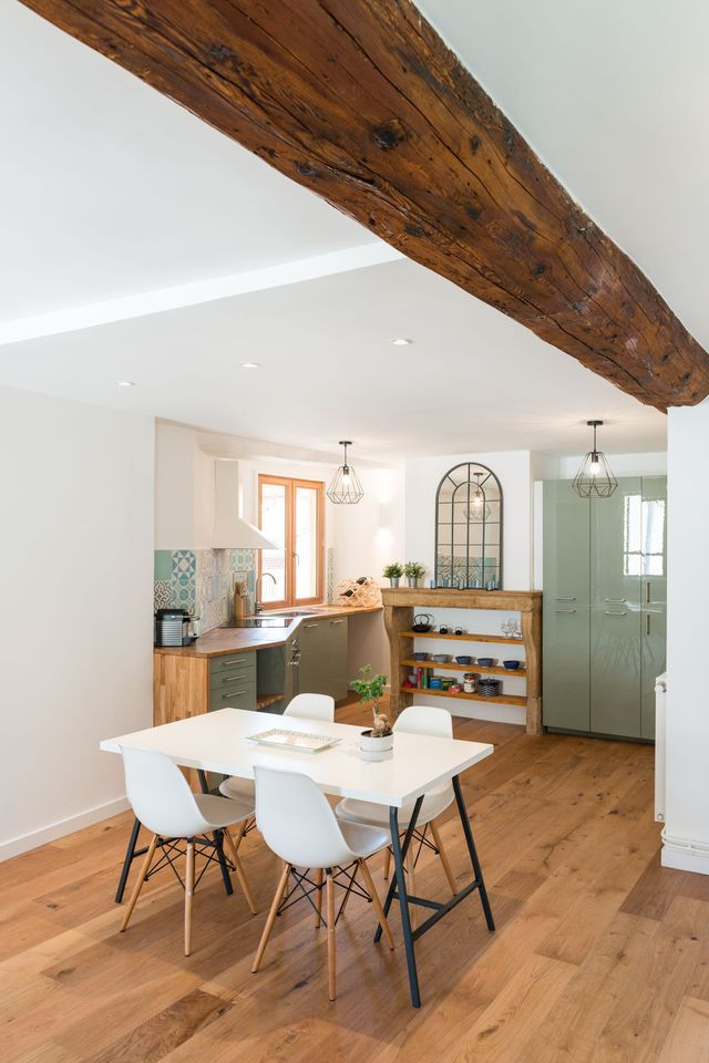 R novation cuisine rustique avec carreaux de ciment avant apr s d co dining table home et decor - Renovation cuisine rustique ...
