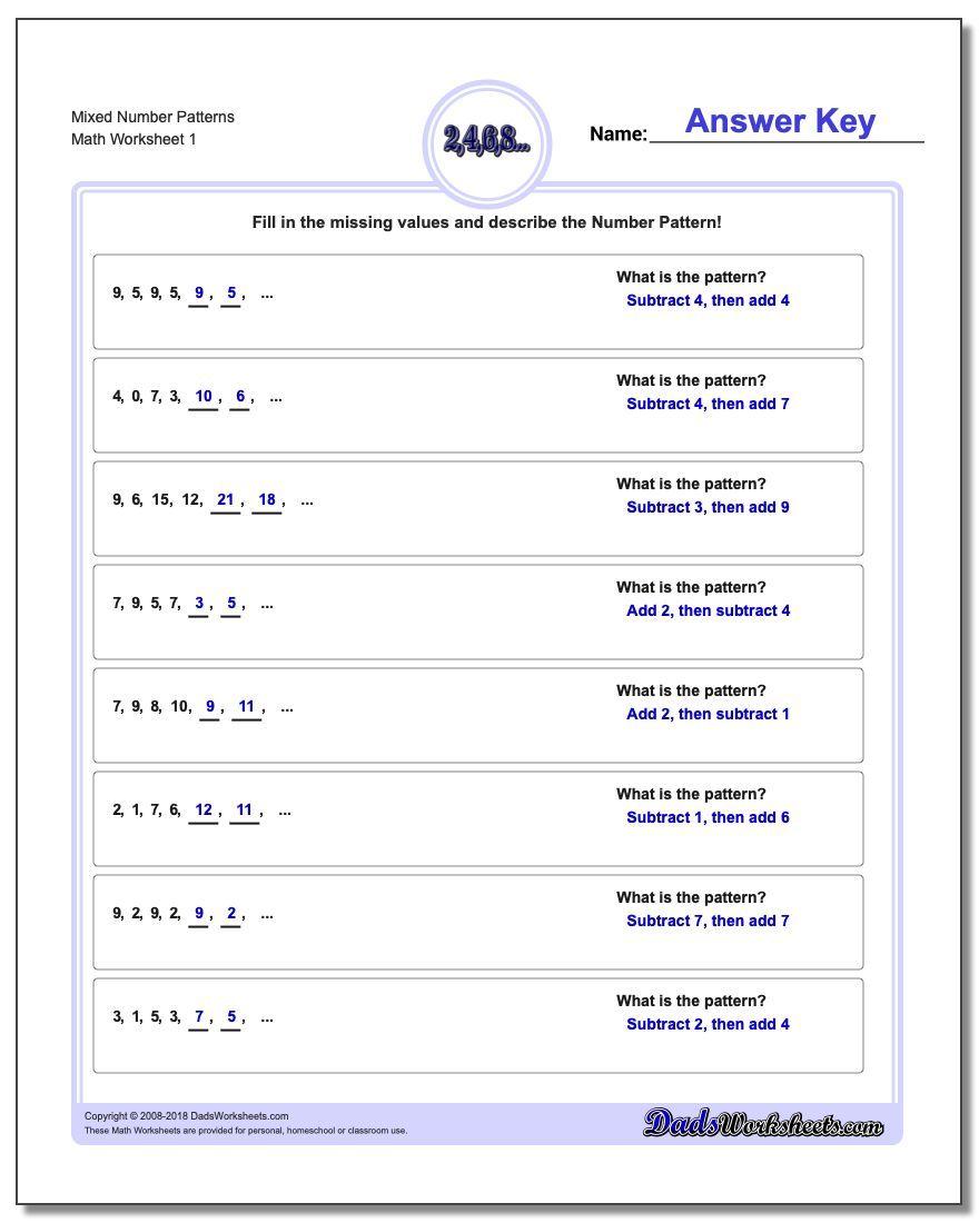 Mixed Number Patterns Worksheet Number Patterns Worksheet Number Patterns Pattern Worksheet Math Worksheets