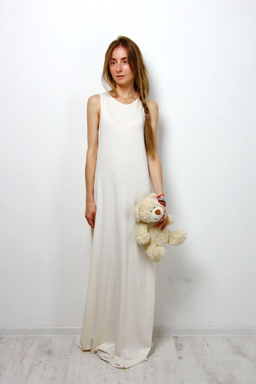 Maxi Casual sundress ivory sleeveless cocktail dress