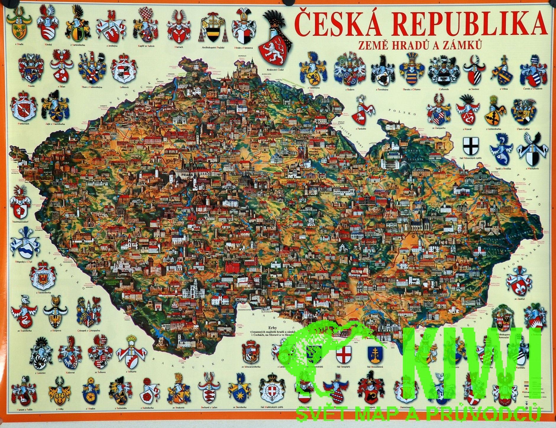 Nastenna Mapa Cr Hradu A Zamku Panorama 90x68 Cm With Images