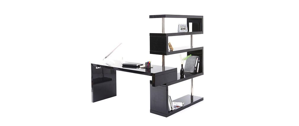 Bureau Design Noir Laque Brillant Amovible T Max Bureau Design Meuble Rangement Bureau Et Meuble Design