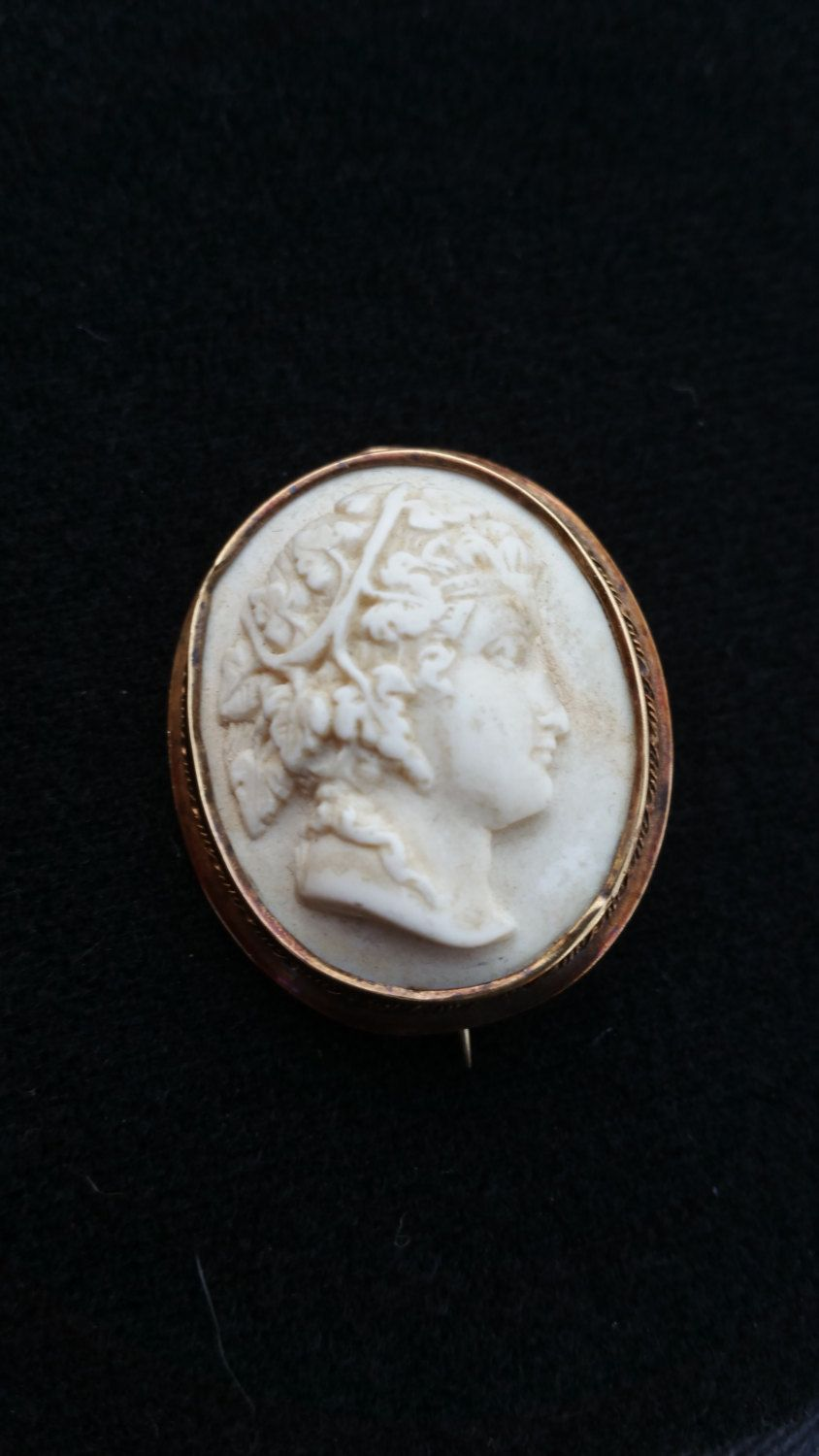 Carved bone cameo - Bacchus cameo - 10 kt gold cameo - gold cameo - bone cameo - high relief cameo - antique gold - cameo brooch - by SteamyAntiquities on Etsy
