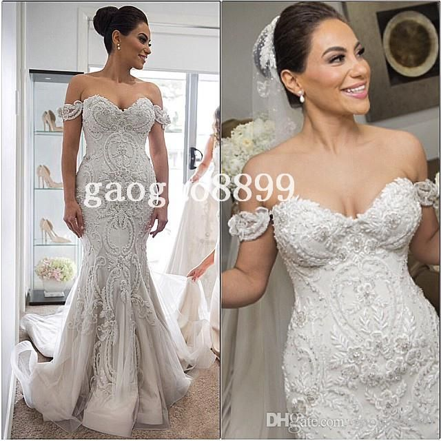 Grecian Style Wedding Dresses 2016 Spring Amazing Detail Mermaid Wedding Dresses Dubai Arabic Off Shoulder Sweetheart