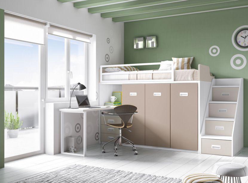 Cama alta con escalera contenedora y mesa recamara j m for Medidas camas compactas juveniles