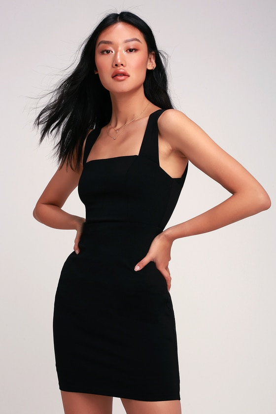 Sip Of Champagne Black Square Neck Bodycon Dress Little Black Cocktail Dress Bodycon Dress Black Ruched Dress
