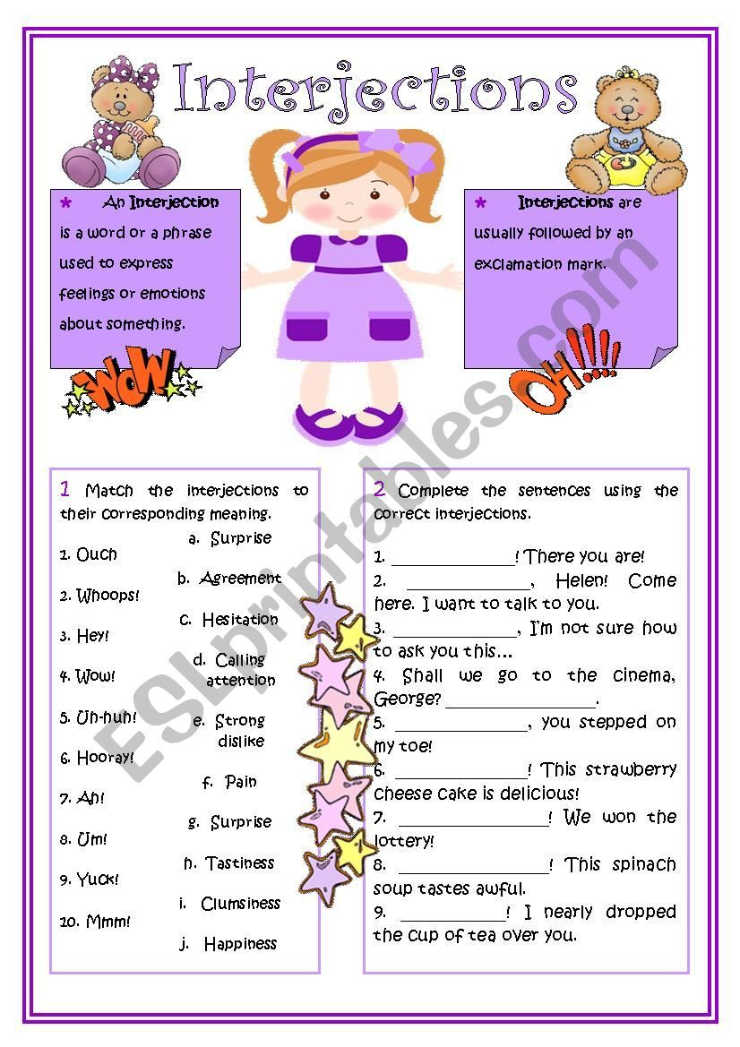 small resolution of Interjections worksheet   Interjections