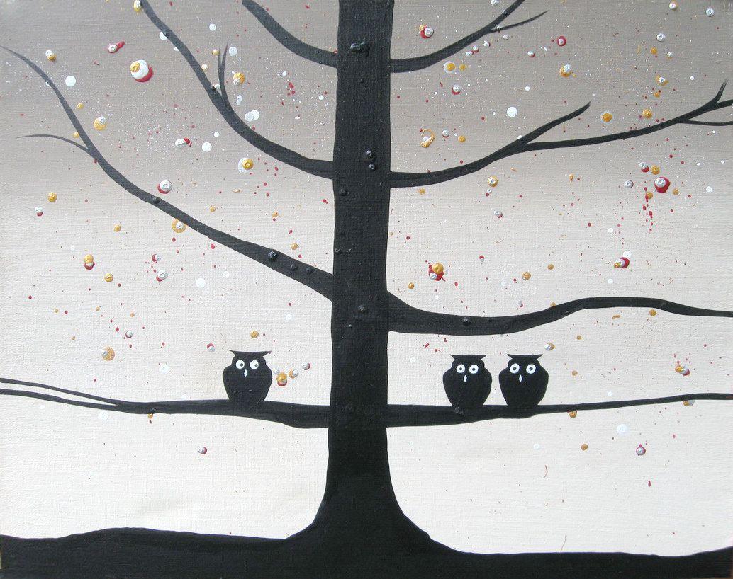 Canvas art silhouette art owl squad wall art by wrightsonarts owl