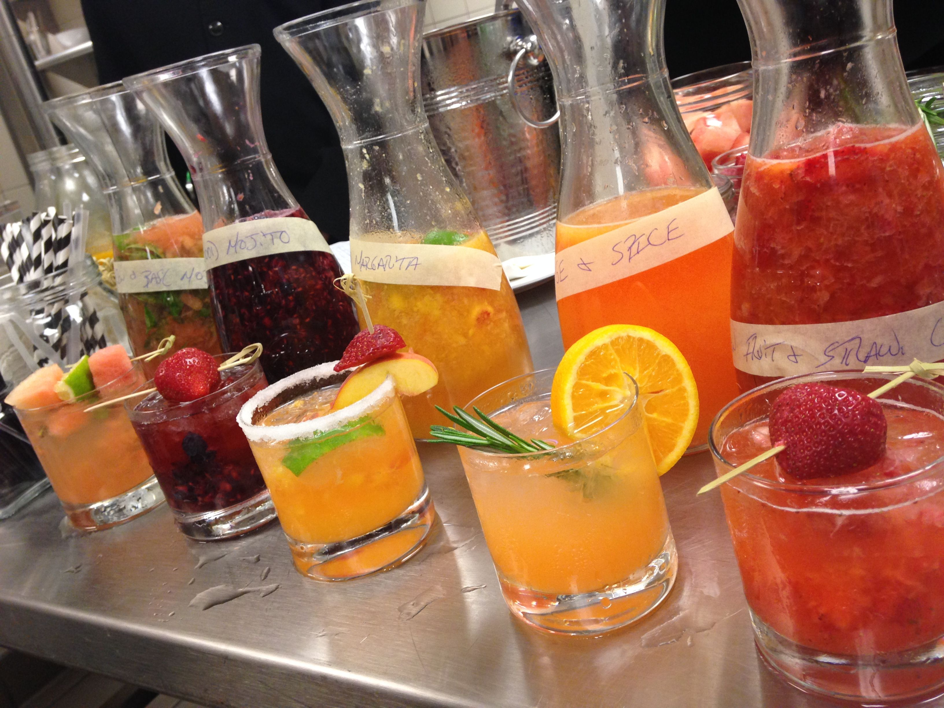 A tropical array of the new drinks being offered on our