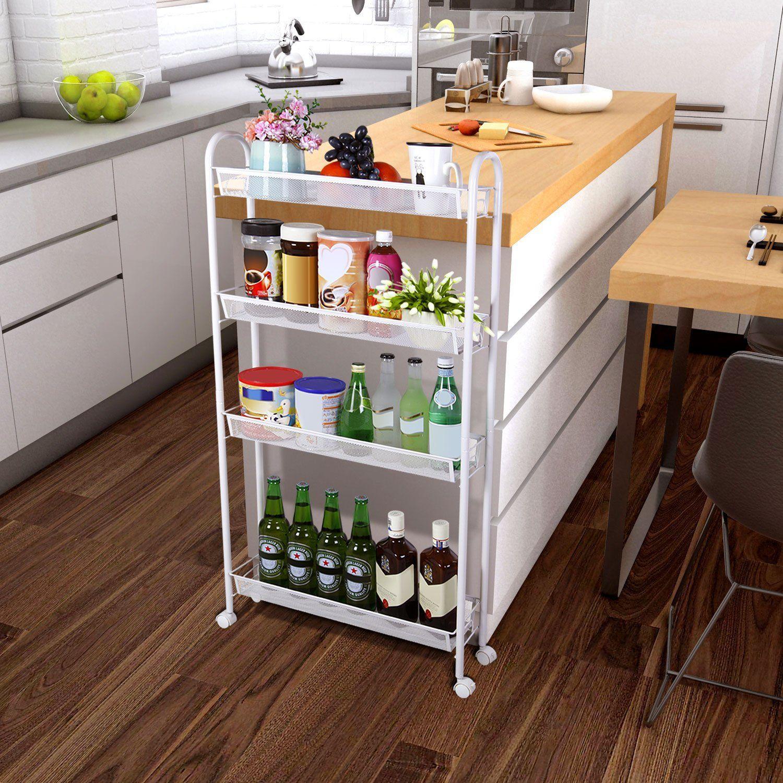 4 Tier Rolling Cart Slim Storage Narrow Kitchen
