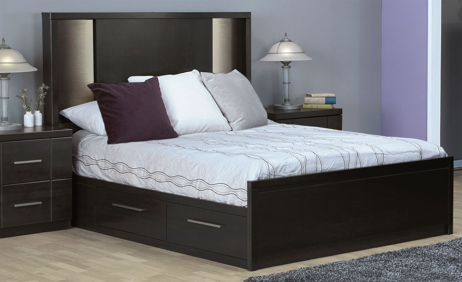 Seville Queen Storage Bed - Charcoal | Camas