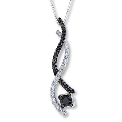 Jared Black White Diamond 1 3 Ct Tw Necklace 10k White Gold White Diamond Necklace White Gold Pricing Jewelry