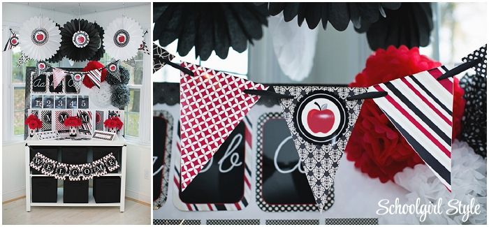 Red Classroom Decor ~ Black red gray apples polka dots classroom theme and