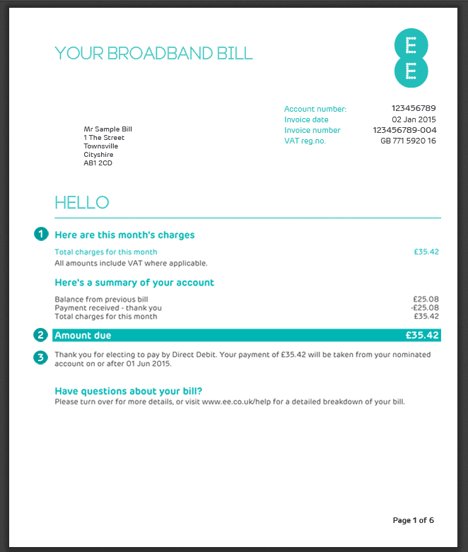 My Home Broadband Home Phone And Ee Tv Bill Explained Invoice