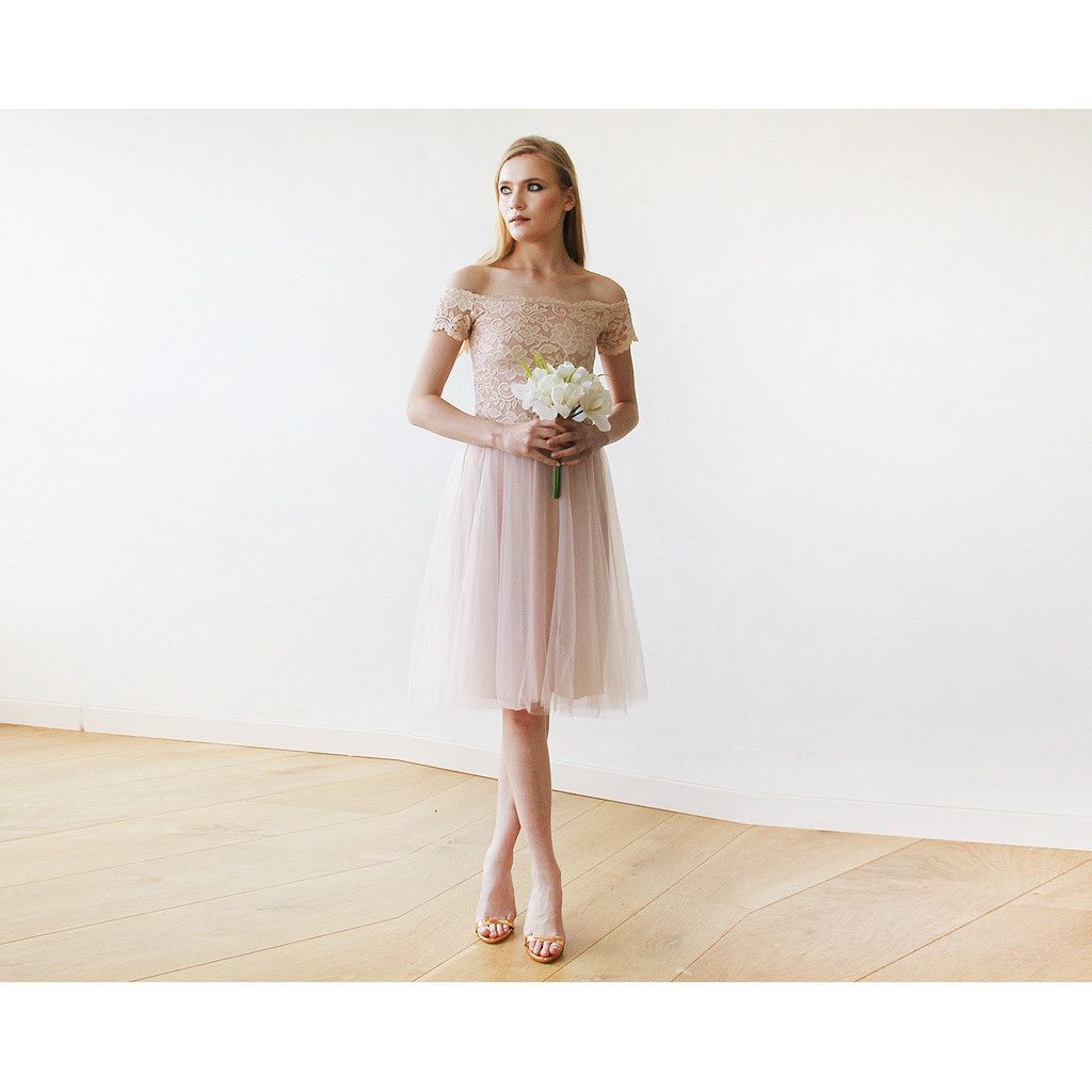 Guest of wedding dresses spring  Buy OfftheShoulders Blush Pink Tulle u Lace Midi Short Sleeves