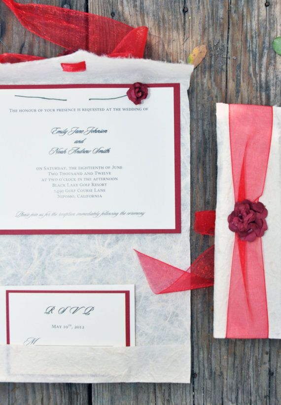 Handmade red rose trifold invitation wedding invitations items similar to do it yourself red rose trifold wedding invitation linen cardstock on etsy solutioingenieria Choice Image