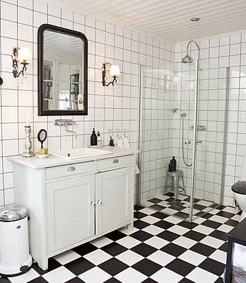 Black and white tile, stacked tile, exposed thermostatic shower system, wall mounted lavatory, vipp.