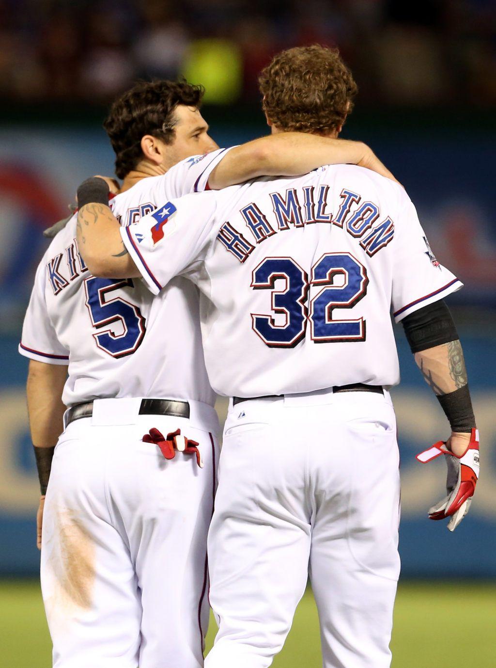 new arrival 37643 20e8d Ian Kinsler and Josh Hamilton of the Texas Rangers talk as ...