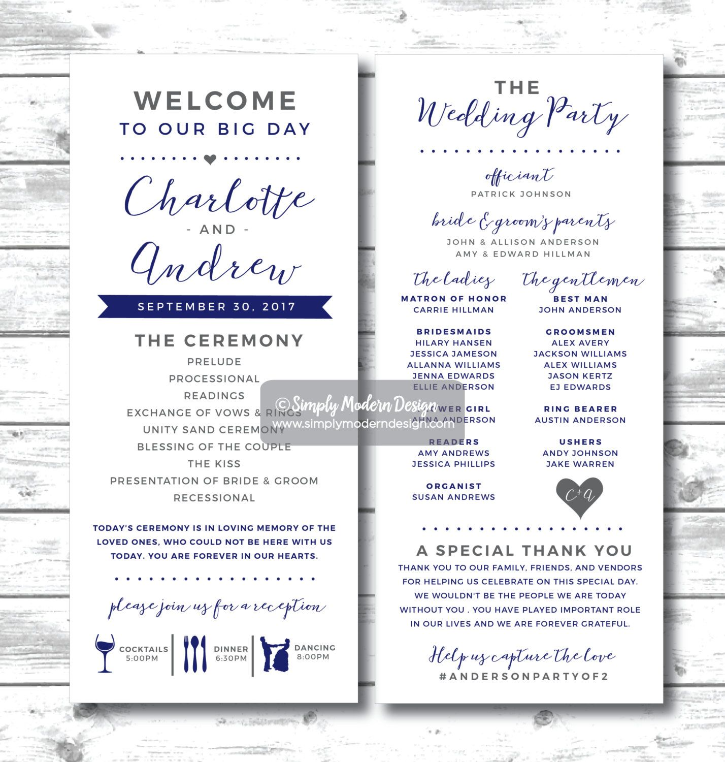 Ceremony And Reception Timeline: Wedding Program, Ceremony, Fun, Unique, Modern, Reception