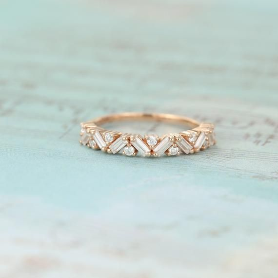 Unique Half Eternity Baguette cut Moissanite wedding band vintage Rose gold wedding band women Matching band Bridal Promise gift for her
